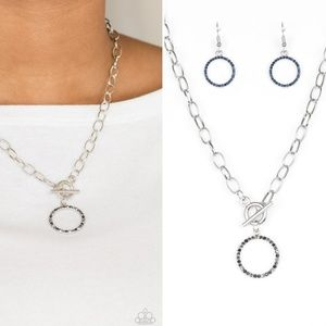 Blue, Smoky and Hematite Toggle Necklace +Earrings